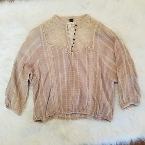 Free People We the Free Plaid and Lace Boho Top